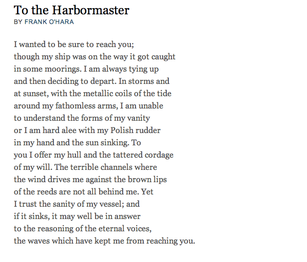 to the harbormaster