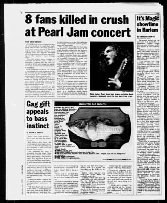 newspaper article about pearl jam tragedy at roskilde